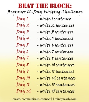 This challenge is great for beginners, for severe writer's block, or for writers who need to find a rhythm to finish a short piece of writing.