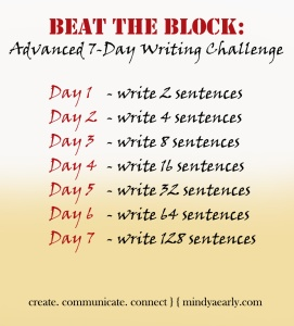 This challenge is for blocked writers who want to up the ante faster, or writers who are working on a medium-length piece of writing.